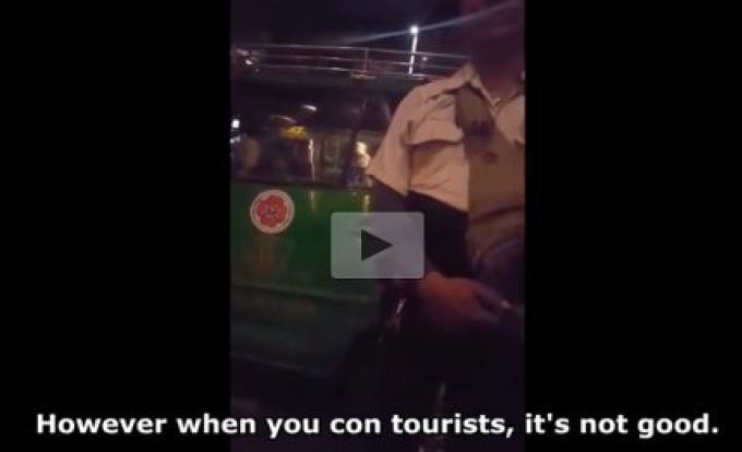 Le taxi attrapé pour tromperie, filmée