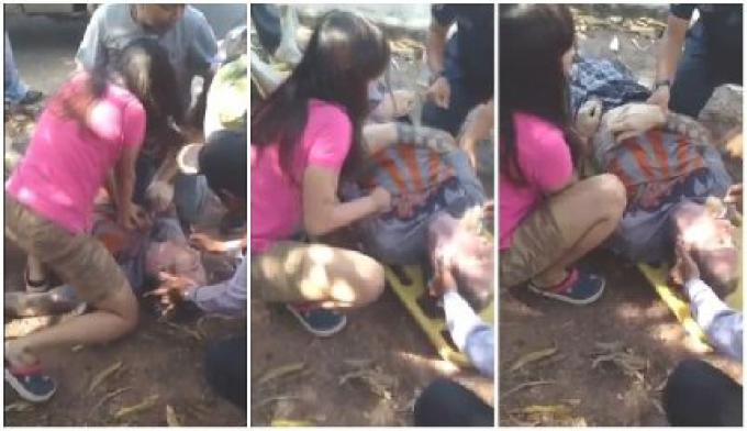 Une Infirmière Thai de 39 ans, a permis de sauver un cycliste allemand qui a subit sur la route une