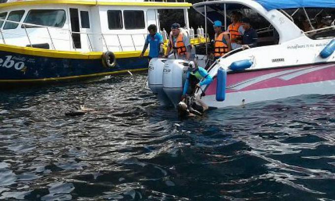 La jambe d'un plongeur russe a été sectionné au large de Phi Ph Leii par une hélice d'un speedbo