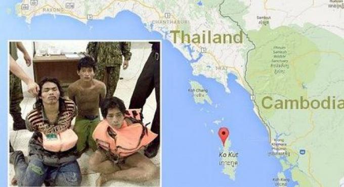 5 marins cambodgiens arretés sur l'ile touristique de Koh Kut