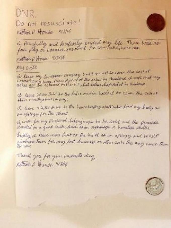 De l'argent, une lettre de suicide avec des instructions ont été trouvées à côté du corps d'un