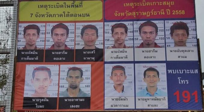 Avis de recherche placardés pour les suspects des attentats de Phuket