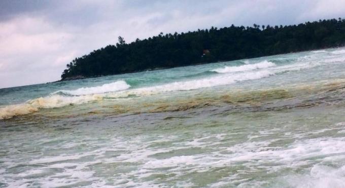 Des eaux 'brunes' stagnent dans une zone de baignade a Kata Beach