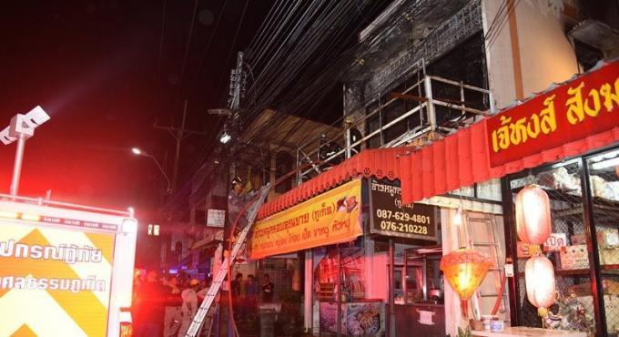 Un incendie éclate dans un restaurant de Phuket Town, le deuxième étage est en ruine
