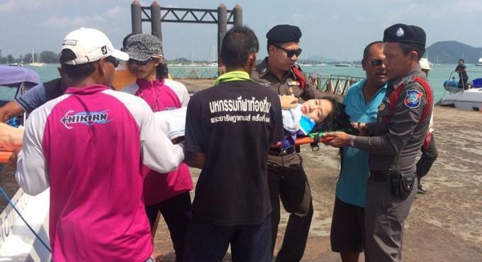 Une chinoise se blesse en tombant d'un bateau