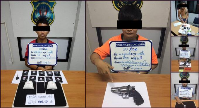 Belle prise : La police de Phuket arête huit personnes pour des faits de drogue et de port d'arme