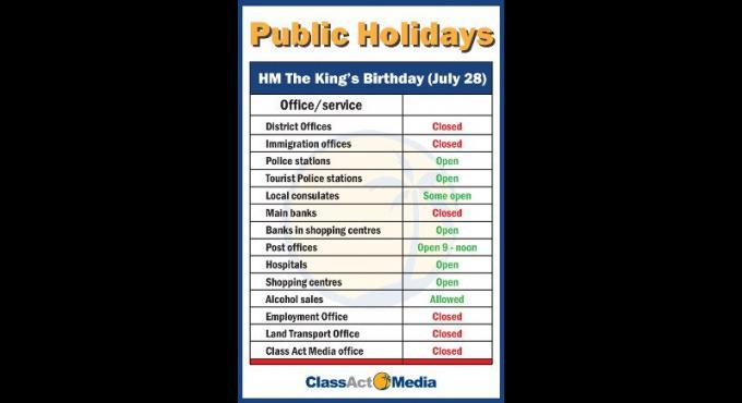 Les principaux services de Phuket fermés pour l'anniversaire du Roi