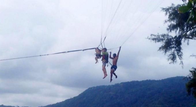 Les opérateurs de parachute ascensionnel de Patong Beach veulent interdire l'activité aux enfants