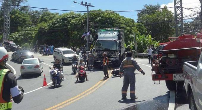 Les freins du camion lâchent a Patong Hill, un mort et deux blessés