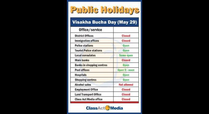 Visakha Bucha férié et  sans alcool