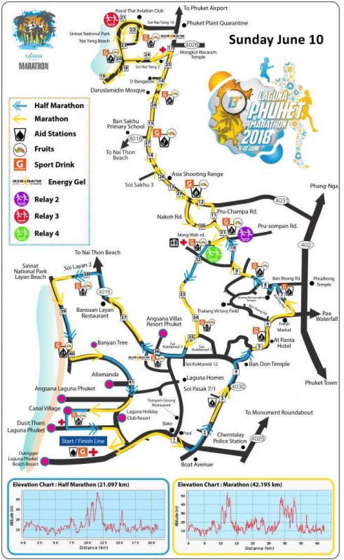 Des routes fermée à l'occasion du Laguna Phuket Marathon 2018
