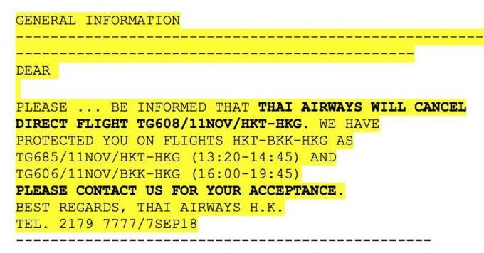 Thai annule ses vols direct Phuket Hong Kong