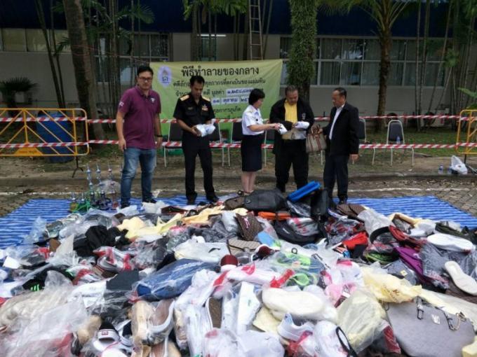Des millions de bahts de contrefaçons détruits