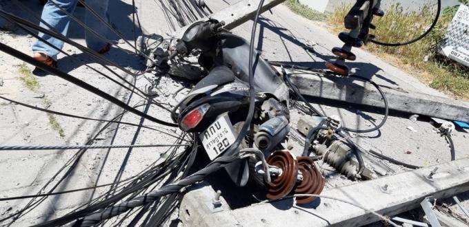 Une bétonnière abat quatre pylônes et blesse un motocycliste à Chalong