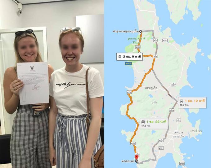 Deux touristes australiennes payent B1,500 chacune pour un trajet en van dans Phuket