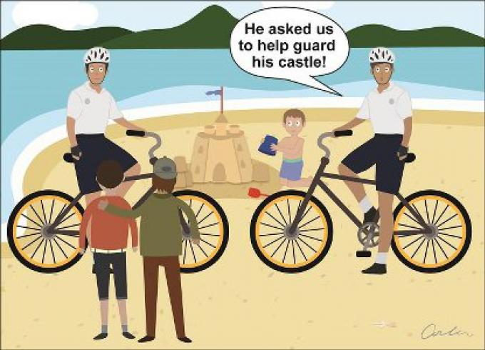 Les policiers en vélo errent