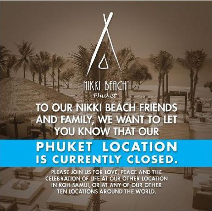 Le Nikki Beach Club se tait sur la fermeture de Phuket
